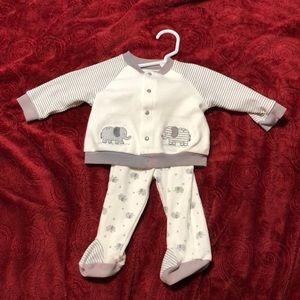 Little me stripe set with elephants size 6 months